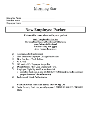 Fillable Online New Employee Packet Cover Sheet - Morning ...
