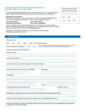 Abe Membership Registration Form - Fill Online, Printable ...