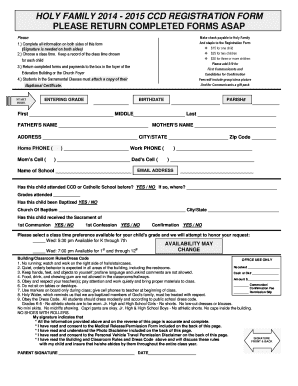 Fillable Online 2015 ccd registration form please return ...