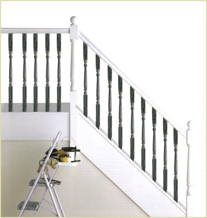 Finish Options For Stairs | Grey Banister White Spindles | Silver | Indoor | Pewter | Gloss | Wrought Iron