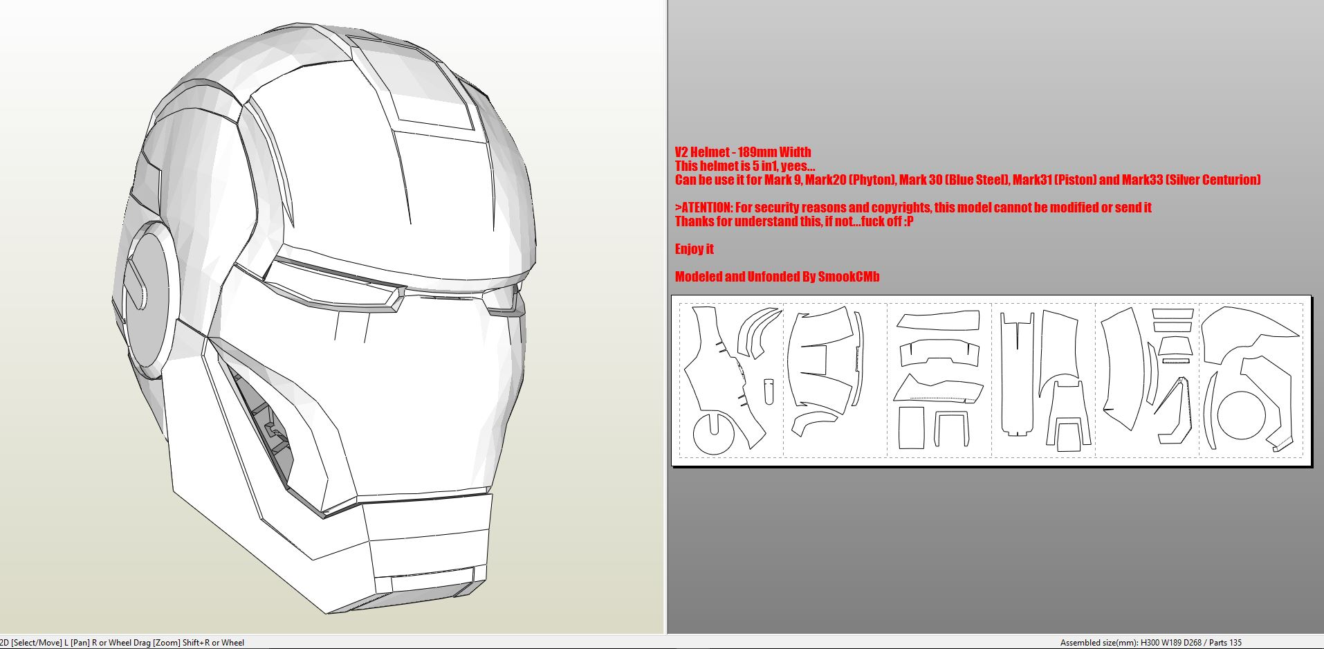 Iron Man Helmet Pepakura Template
