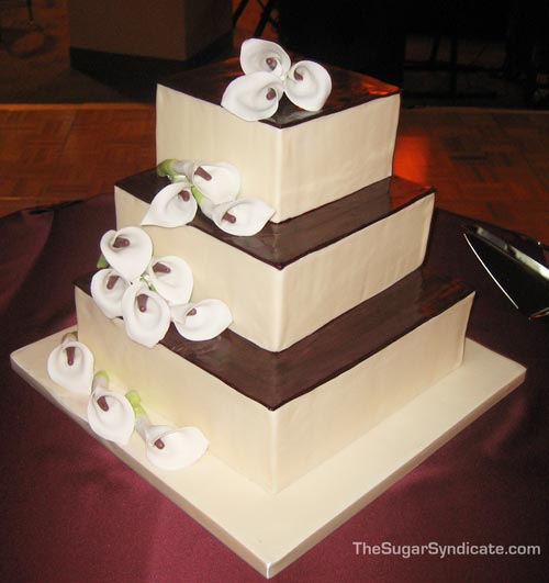 Lovely Calla Lilly Wedding Cakes square chocolate calla lilly wedding cake