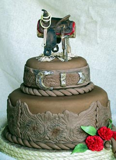 Western Wedding Cakes Photos   5000  Simple Wedding Cakes Brown Two Tier Western Style Wedding Cake Decorate With Intricate Designs  And Saddle