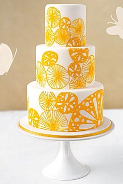 Gallery of Summer Wedding Cakes Simple and refreshing  three tier white and yellow wedding cake