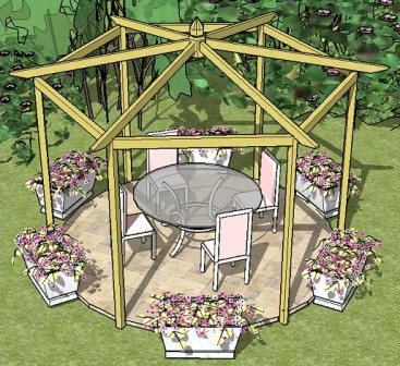 Pitched Roof Hexagonal Pergola