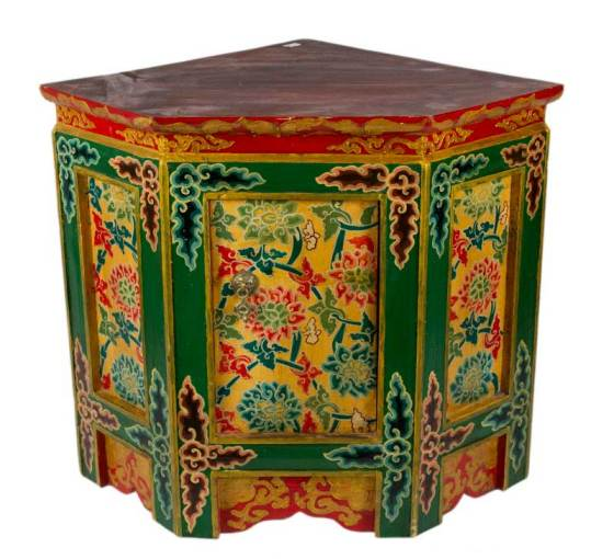 Meuble d  angle tibetain Collection peterandclo Meuble d  angle tib    tain en bois peint  Tibet   Nepal 4231