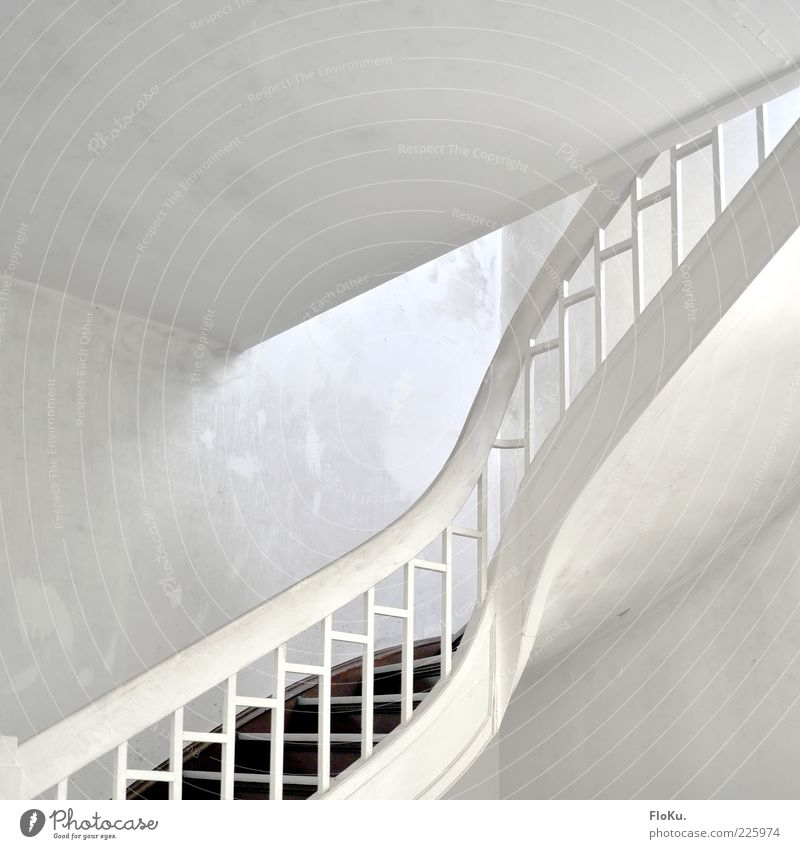 White Staircase Deserted A Royalty Free Stock Photo From Photocase   White And Grey Banister   Newel Post   Narrow Awkward Staircase   Stair Railing   Entryway   Wall