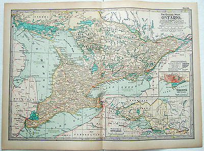 ORIGINAL 1897 MAP of Ontario  Canada by The Century Company  Antique     Original 1897 Map of Ontario  Canada by The Century Company  Antique