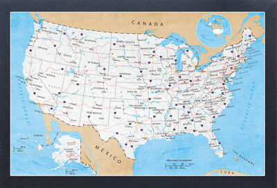 32X50 RAND MCNALLY Style United States USA US Large Wall Map Poster     ROAD MAP OF USA NORTH AMERICA 13x19 FRAMED GELCOAT POSTER DRIVING HIGHWAYS  CARS