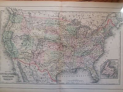 World Maps  Maps  Atlases   Globes  Antiques Page 11   PicClick Antique Map of United States 1893 Mitchell s Family Atlas