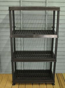 4 TIER PLASTIC Ventilated Greenhouse Shelving in Green by Garland     4 Tier Plastic Ventilated Greenhouse Shelving in Green by Garland