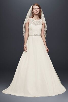 1000 DAVIDS BRIDAL WG3711 Royal Gown Lace Tulle Wedding Dress Ivory      1000 Davids Bridal WG3711 Royal Gown Lace Tulle Wedding Dress Ivory Size 8