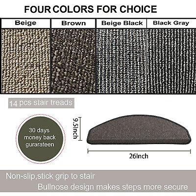 Set Of 1 2 3 7 Or 13 New Affordable Bullnose Carpet Stair Treads   Stick On Carpet Stair Treads   Bc Canada Treads   Replacement   Stain Resistant   Carpet Classic   Dark Grey Grey
