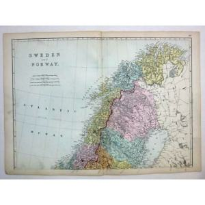 SWEDEN AND NORWAY  North    Antique Map 1880 by Bacon       10 95     SWEDEN and NORWAY  North    Antique Map 1880 by Bacon