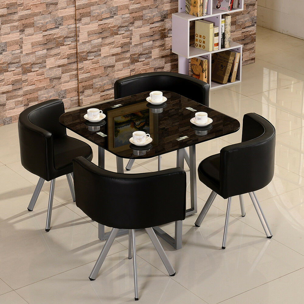 Dining Table With 4 6 Pu Leather Chairs Set Tempered Glass