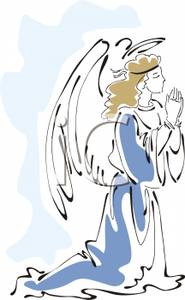 Angel Praying On Her Knees Royalty Free Clipart Picture