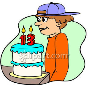 Boy Having His 13th Birthday Royalty Free Clipart Picture