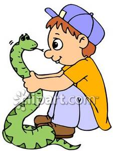 Boy Playing With A Snake Royalty Free Clipart Picture