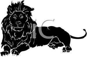 Resting Lion Silhouette Royalty Free Clipart Picture