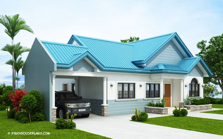 The Blue House Design with 3 Bedrooms   Pinoy House Plans This concept also considered one car garage at the left side which is  fire walled on one side