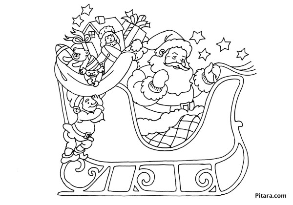 santa sleigh coloring page # 10