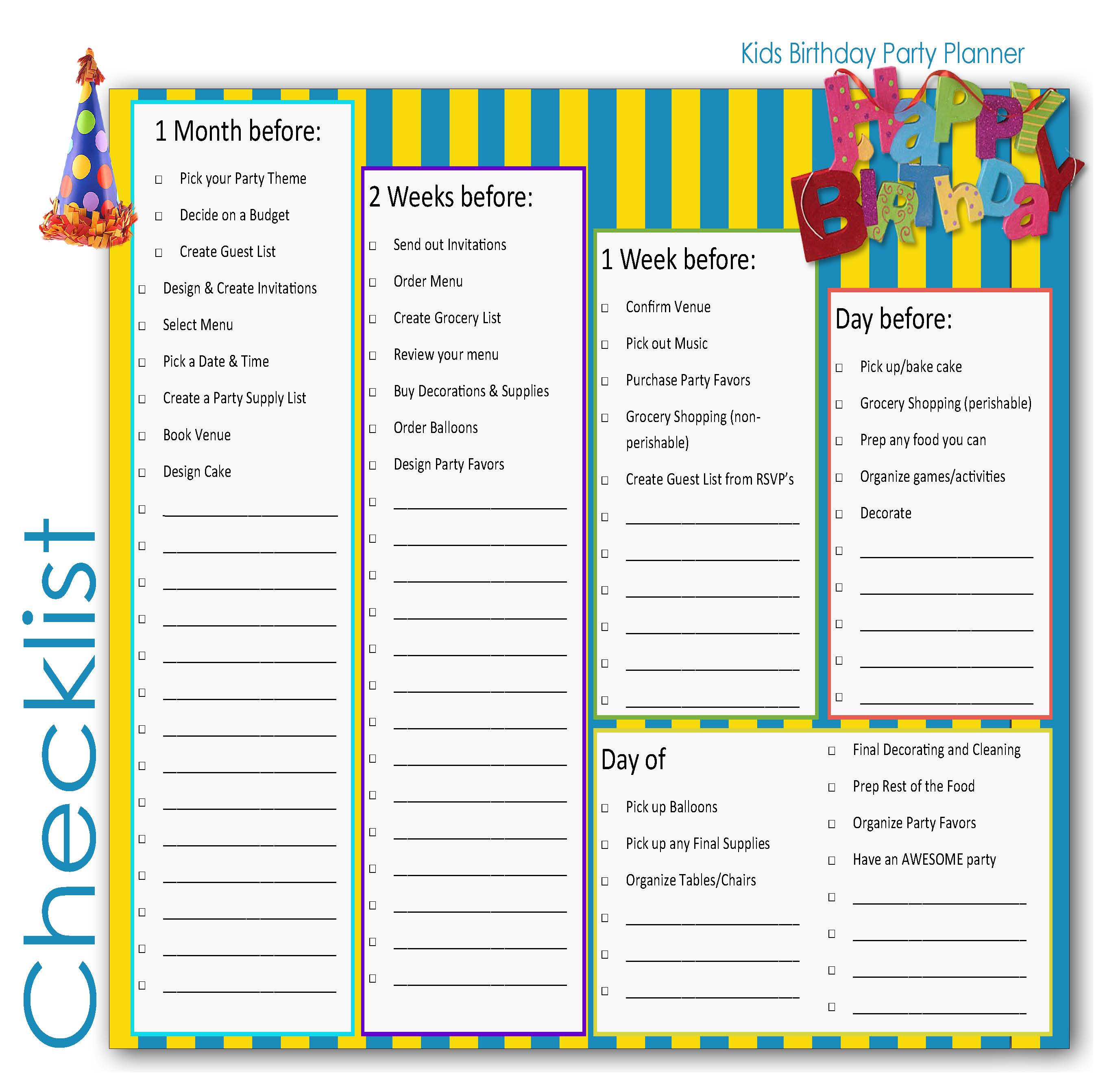 Children Birthd Y P Rty Pl Nner Checklist Kids