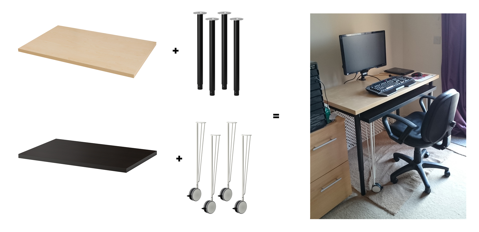 Ikea Hack   Two in One PC   Craft Desk       1 Creativity Two desks in one
