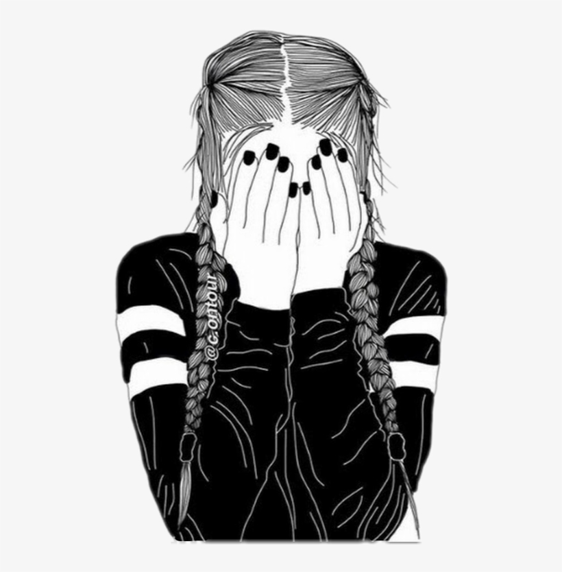 Girl Tumblr Outline Freetoedit - Black And White Drawing ...
