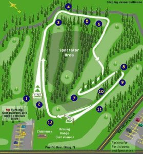 1999 USA Winter Cross Country National Championships Course Map Entrance to Lake Spanaway Golf Course