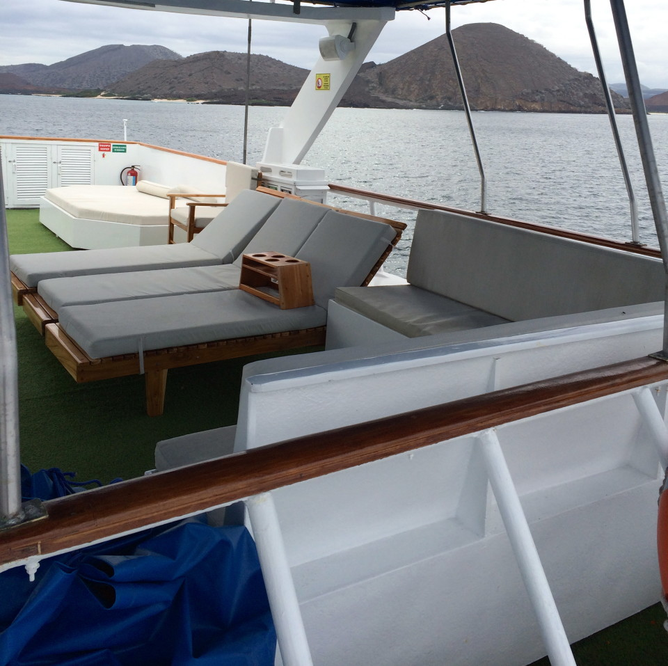 Top deck of the Ecoventura yacht