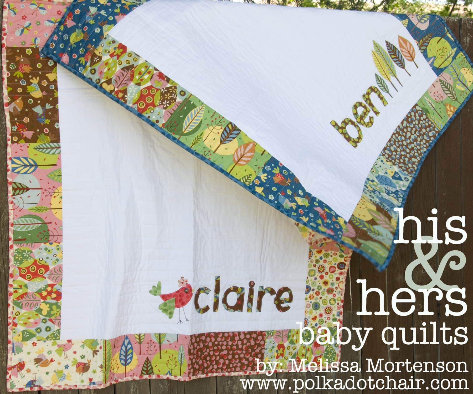 His Amp Hers Personalized Baby Quilt Pattern The Polkadot