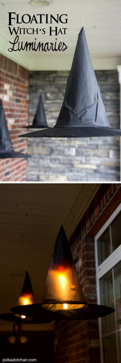 Diy Floating Witch Hat Luminaries Halloween Witch Decorations
