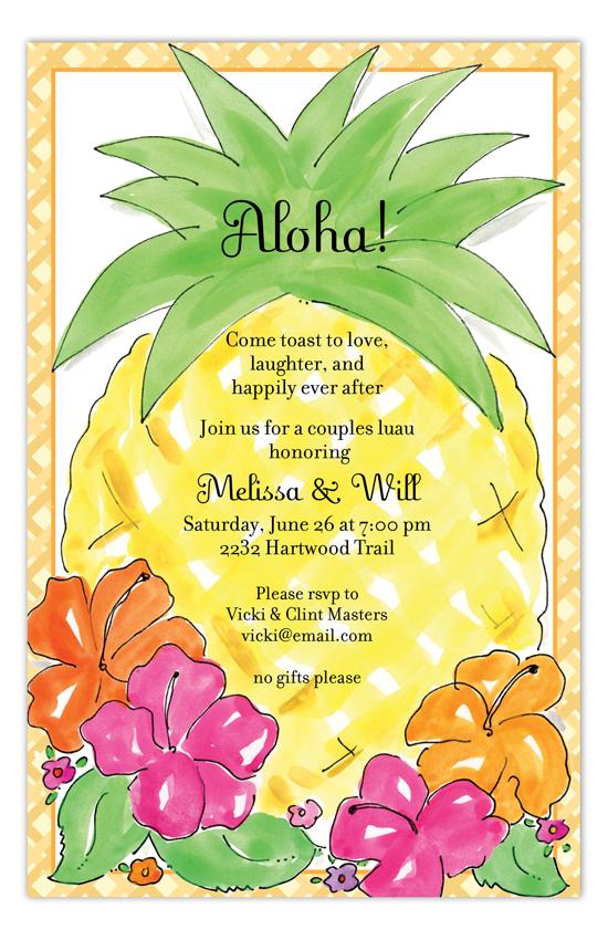 Aloha Pineapple Luau Invitations