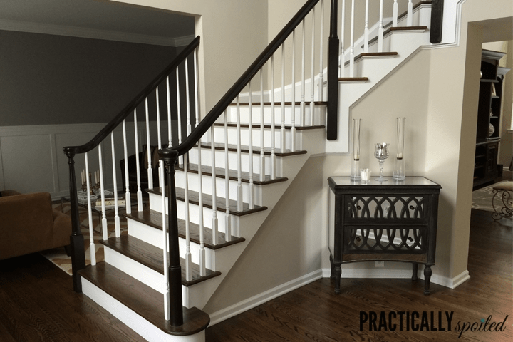 How To Gel Stain *Gly Oak Banisters | Black Banister White Spindles | Black Railing | Wainscoting | White Painted Riser | Benjamin Moore Stair Railing | Baluster Curved Stylish Overview Stair