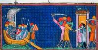 """Truppe di atterraggio cor. Louis IX santo al largo della costa della Tunisia. In miniatura da """"Big Chronicles of France"""". 1332-1350. (Brit. Lib. Royal. 16 G VI. Fol. 440)"""