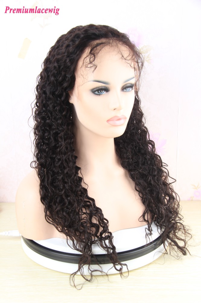 360 Lace Wig Kinky Curly Indian Hair Pre Plucked 16inch