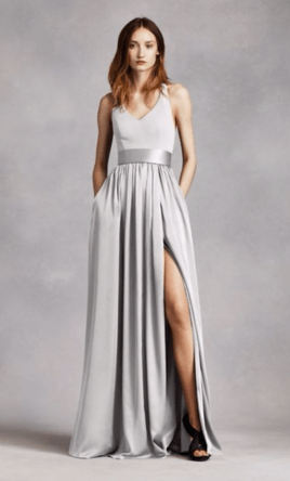 Vera Wang White V Neck Halter Gown with Sash   Style  VW360214  Size     Pin it      Vera Wang White V Neck Halter Gown with Sash   Style  VW360214 6