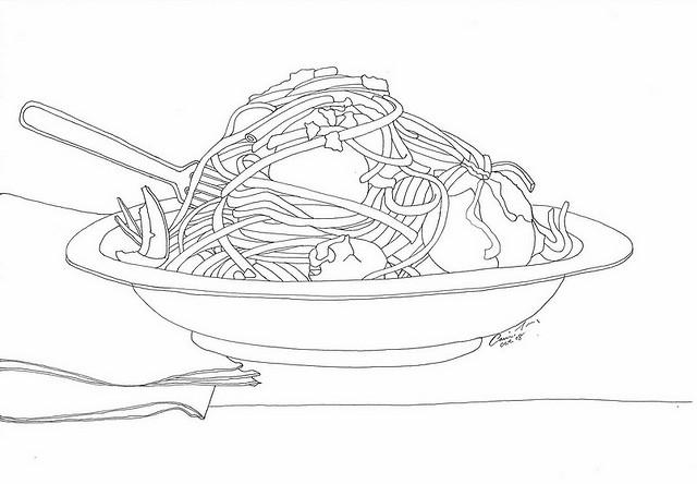elegant spaghetti and meatballs plate