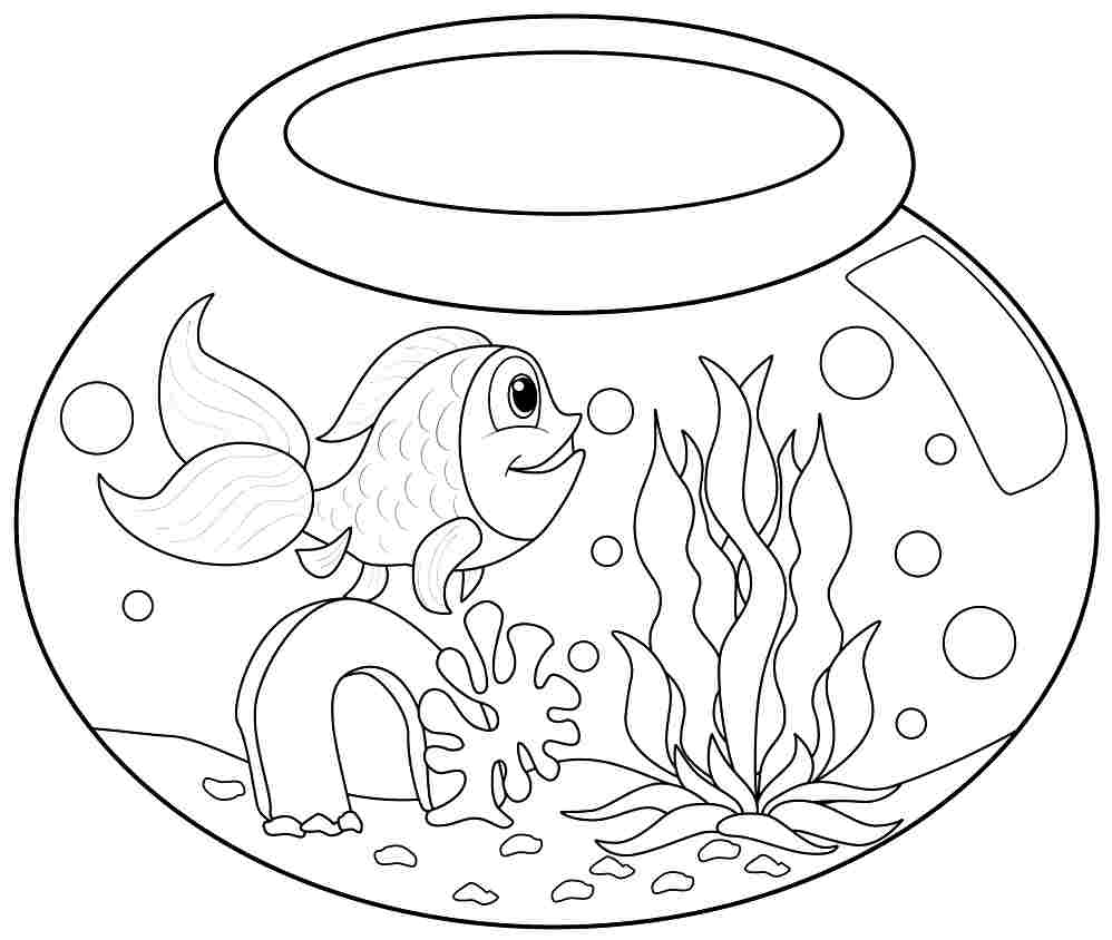 Beautiful Fish Bowl Coloring Page Printable Contemporary Style