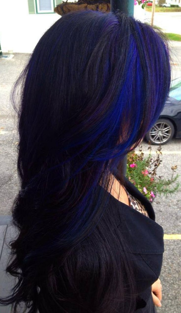 Black Dark Hair Blue Color