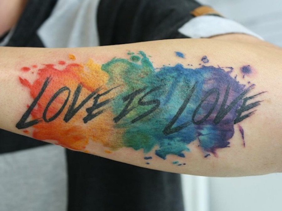 Watercolor Heart Tattoo Rainbow