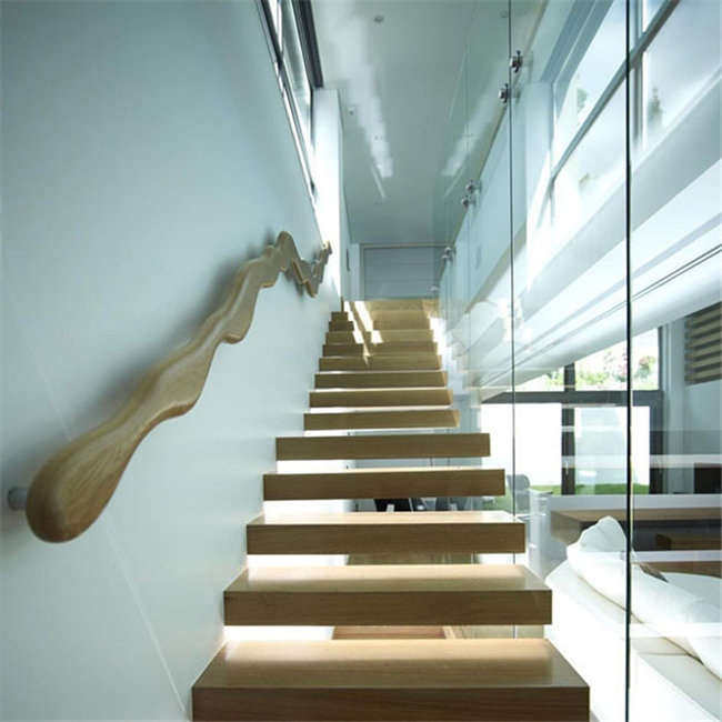 Fancy Interior Hard Wood Floating Stairs Price With Glass Railing | Floating Stairs With Glass Railing | Wall | Commercial | Glass Staircase | Thin Glass | Modern