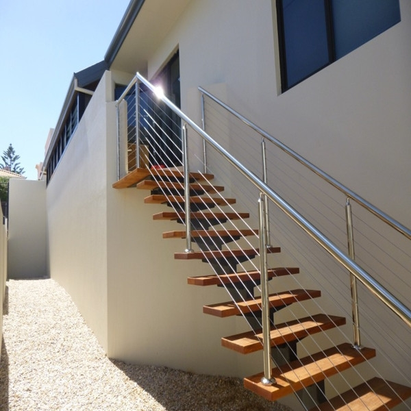 Steel Cable Railing Wood Tread Straight Stair Staircase | Steel Stairs With Wood Treads | Wooden Stair | Glass | Exterior | Pine Wood Tread | Typical