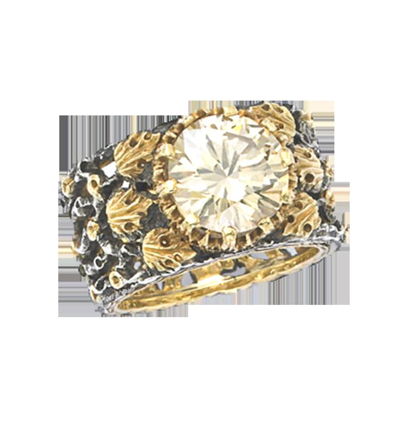 Buccellati Vintage Diamond Gold And Silver Ring Primavera Gallery