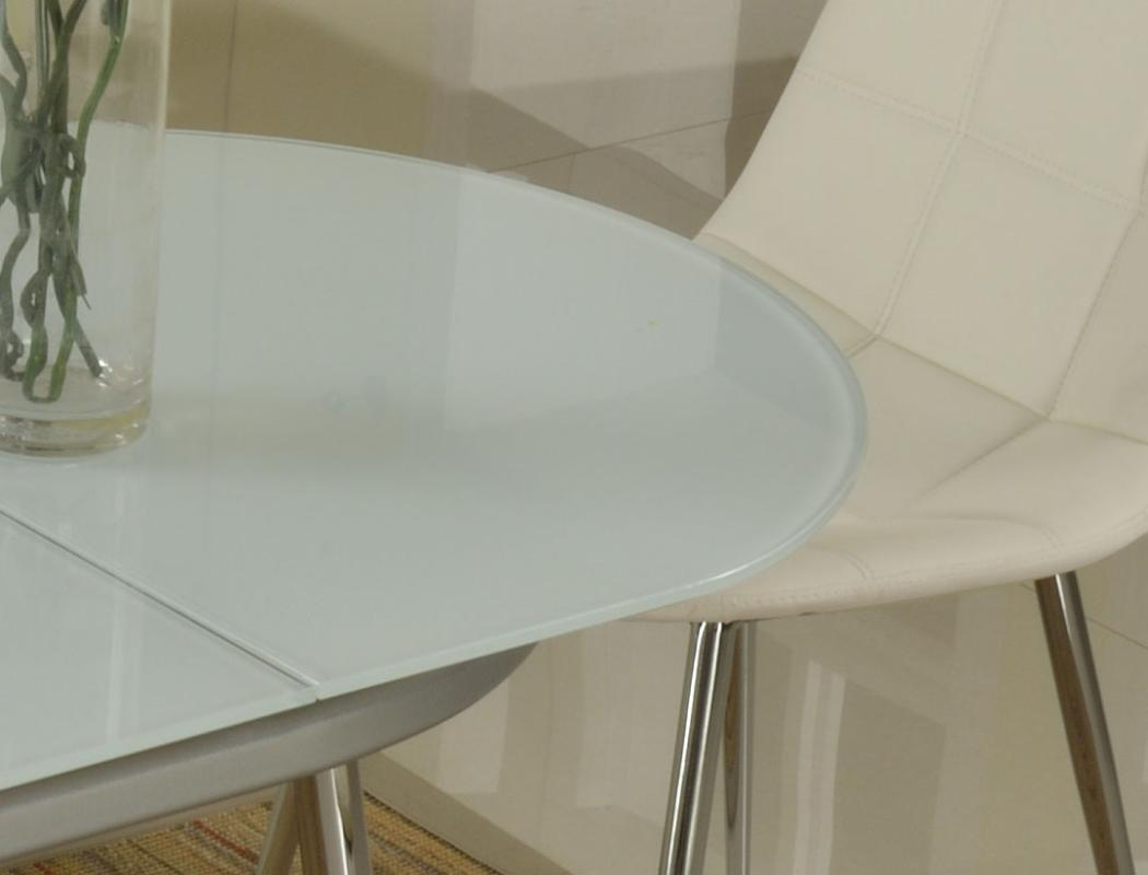 Extendable Oval Frosted Glass Top Modern Dinner Table Set