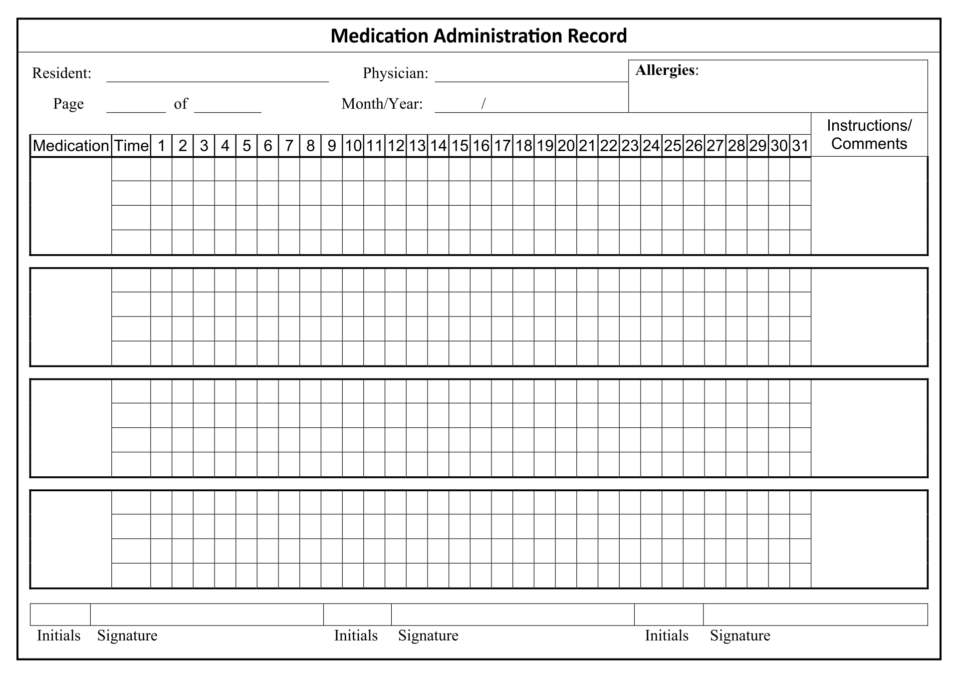 Mar Template For Nursing