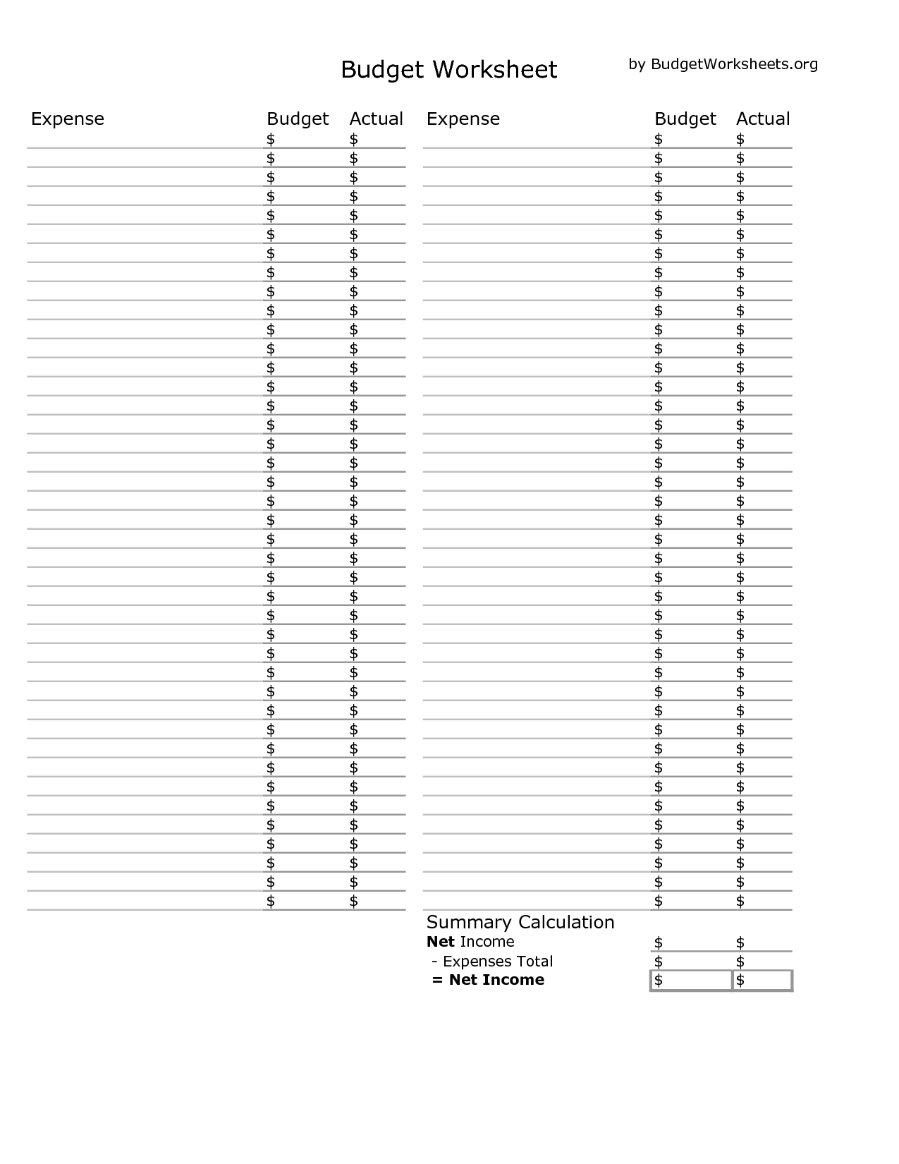 Budgeting Blank Yearly Graph