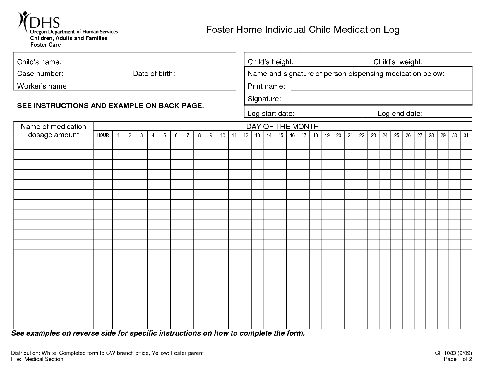 printable medication record sheet