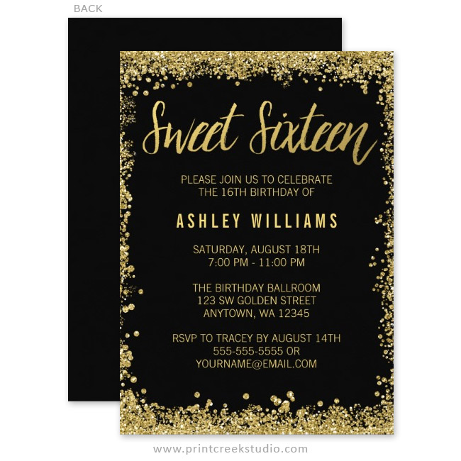 Custom Printed Sweet 16 Invitations