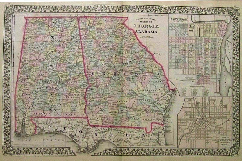 Prints Old   Rare   Alabama   Antique Maps   Prints 1879 Mitchell s original hand colored County Map of the States of Georgia  and Alabama  with insets on right of Savannah  Georgia and the City of  Atlanta